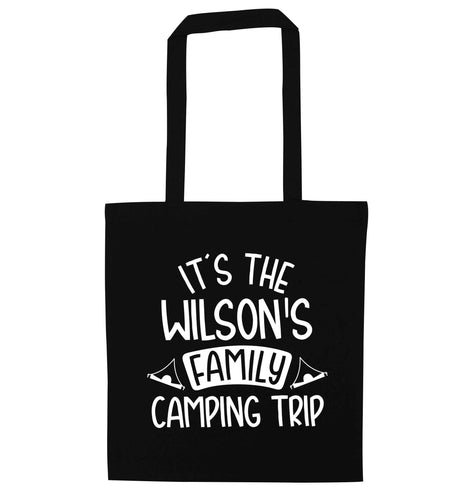 It's the Wilson's family camping trip personalised black tote bag