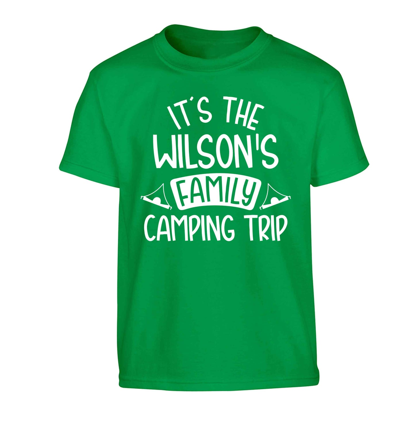 It's the Wilson's family camping trip personalised Children's green Tshirt 12-13 Years