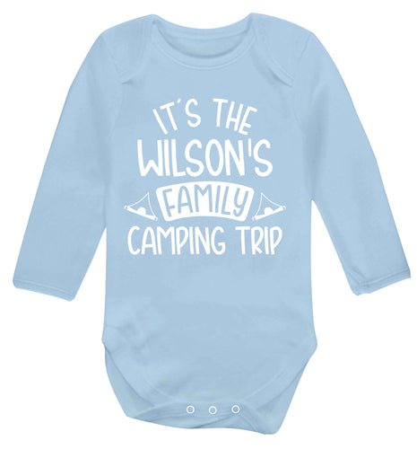 It's the Wilson's family camping trip personalised Baby Vest long sleeved pale blue 6-12 months