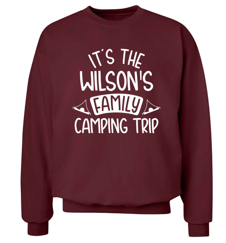 It's the Wilson's family camping trip personalised Adult's unisex maroon Sweater 2XL