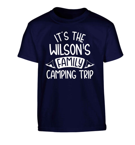 It's the Wilson's family camping trip personalised Children's navy Tshirt 12-13 Years