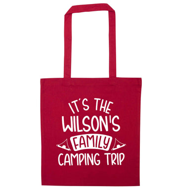 It's the Wilson's family camping trip personalised red tote bag