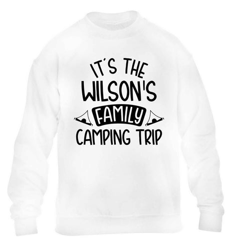 It's the Wilson's family camping trip personalised children's white sweater 12-13 Years