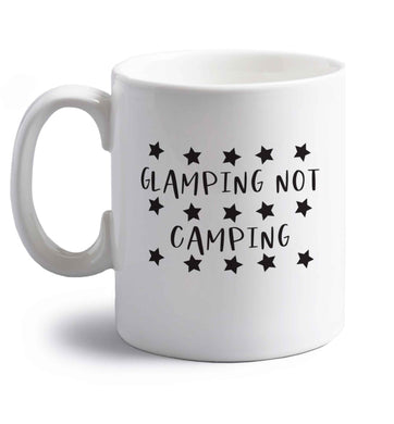 Glamping not camping right handed white ceramic mug