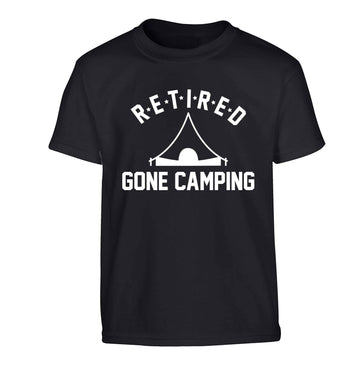 Retired gone camping Children's black Tshirt 12-13 Years
