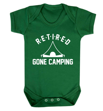 Retired gone camping Baby Vest green 18-24 months