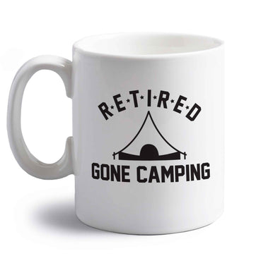 Retired gone camping right handed white ceramic mug