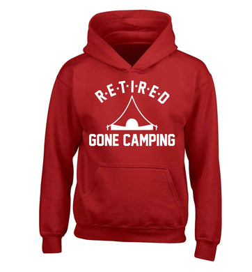 Retired gone camping children's red hoodie 12-13 Years