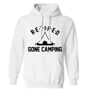 Retired gone camping adults unisex white hoodie 2XL