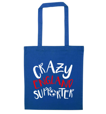 Crazy England supporter blue tote bag