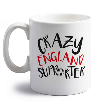 Crazy England supporter right handed white ceramic mug