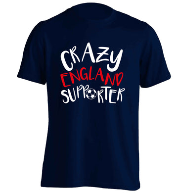 Crazy England supporter adults unisex navy Tshirt 2XL