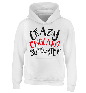 Crazy England supporter children's white hoodie 12-13 Years