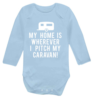 My home is wherever I pitch my caravan Baby Vest long sleeved pale blue 6-12 months