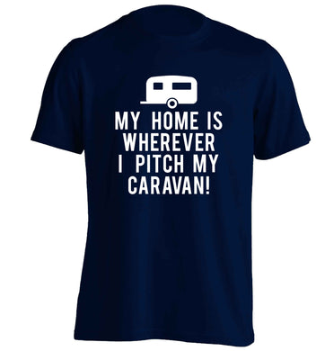 My home is wherever I pitch my caravan adults unisex navy Tshirt 2XL