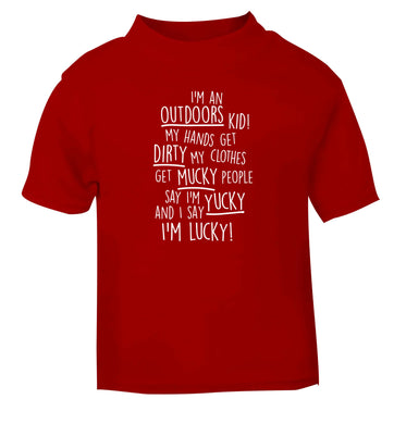 I'm an outdoors kid poem red Baby Toddler Tshirt 2 Years