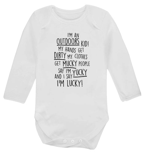 I'm an outdoors kid poem Baby Vest long sleeved white 6-12 months