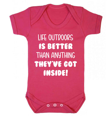 Life outdoors is better than anything they've go inside Baby Vest dark pink 18-24 months