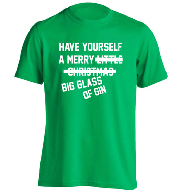 Have yourself a merry big glass of gin adults unisex green Tshirt 2XL