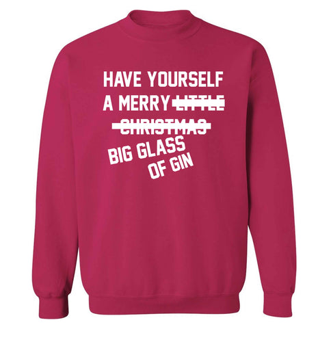Have yourself a merry big glass of gin Adult's unisex pink Sweater 2XL