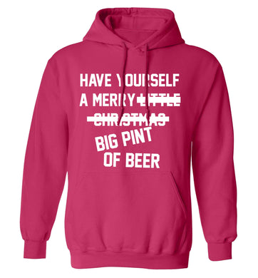 Have yourself a merry big pint of beer adults unisex pink hoodie 2XL