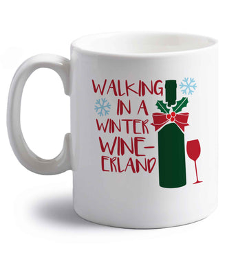 Walking in a wine-derwonderland right handed white ceramic mug