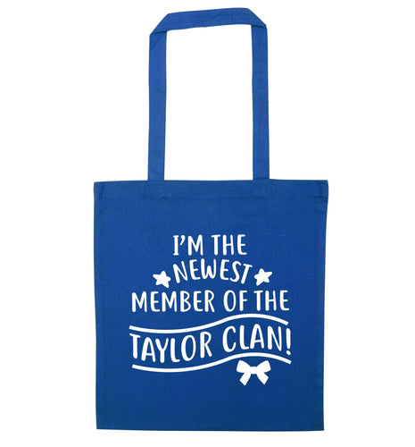 Personalised, newest member of the Taylor clan blue tote bag