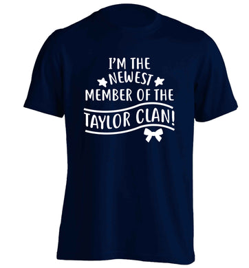 Personalised, newest member of the Taylor clan adults unisex navy Tshirt 2XL