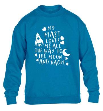 My masi loves me all the way to the moon and back children's blue sweater 12-13 Years
