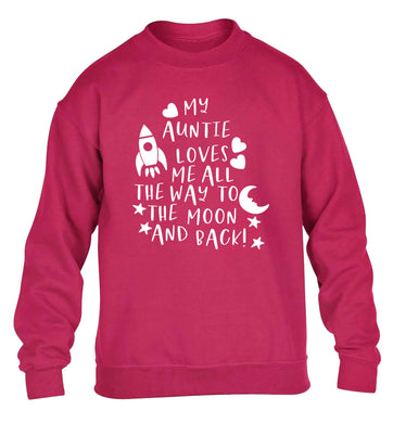 My auntie loves me all the way to the moon and back children's pink sweater 12-13 Years