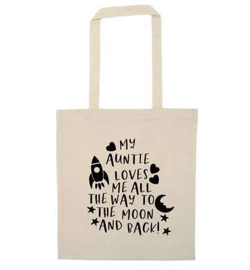 My auntie loves me all the way to the moon and back natural tote bag