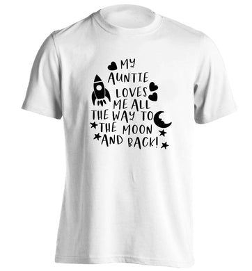 My auntie loves me all the way to the moon and back adults unisex white Tshirt 2XL