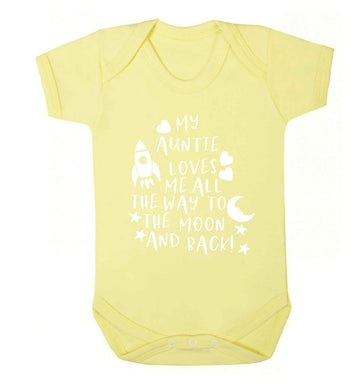 My auntie loves me all the way to the moon and back Baby Vest pale yellow 18-24 months