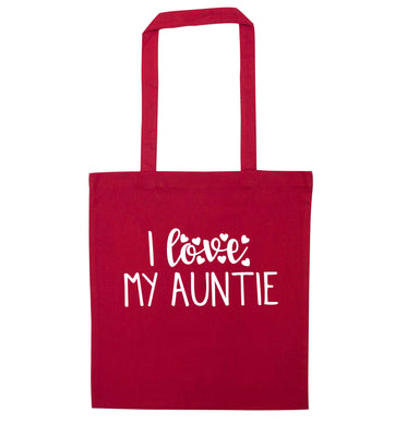 I love my auntie red tote bag