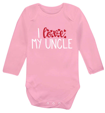 I love my uncle Baby Vest long sleeved pale pink 6-12 months