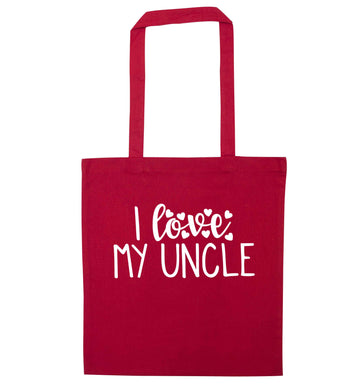 I love my uncle red tote bag