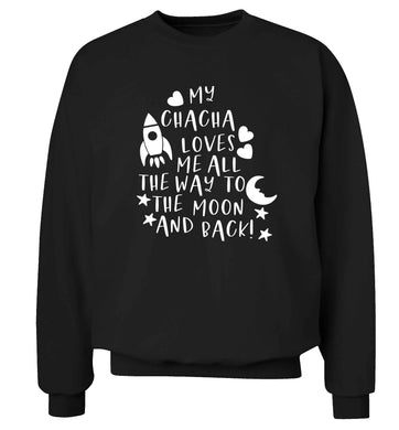 My chacha loves me all the way to the moon and back Adult's unisex black Sweater 2XL
