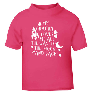 My chacha loves me all the way to the moon and back pink Baby Toddler Tshirt 2 Years