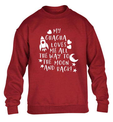 My chacha loves me all the way to the moon and back children's grey sweater 12-13 Years