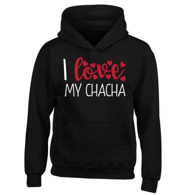 I love my chacha children's black hoodie 12-13 Years