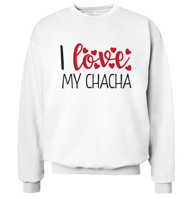 I love my chacha Adult's unisex white Sweater 2XL