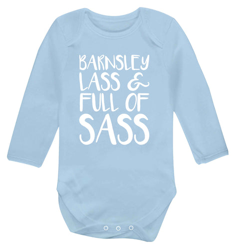 Barnsley lass and full of sass Baby Vest long sleeved pale blue 6-12 months