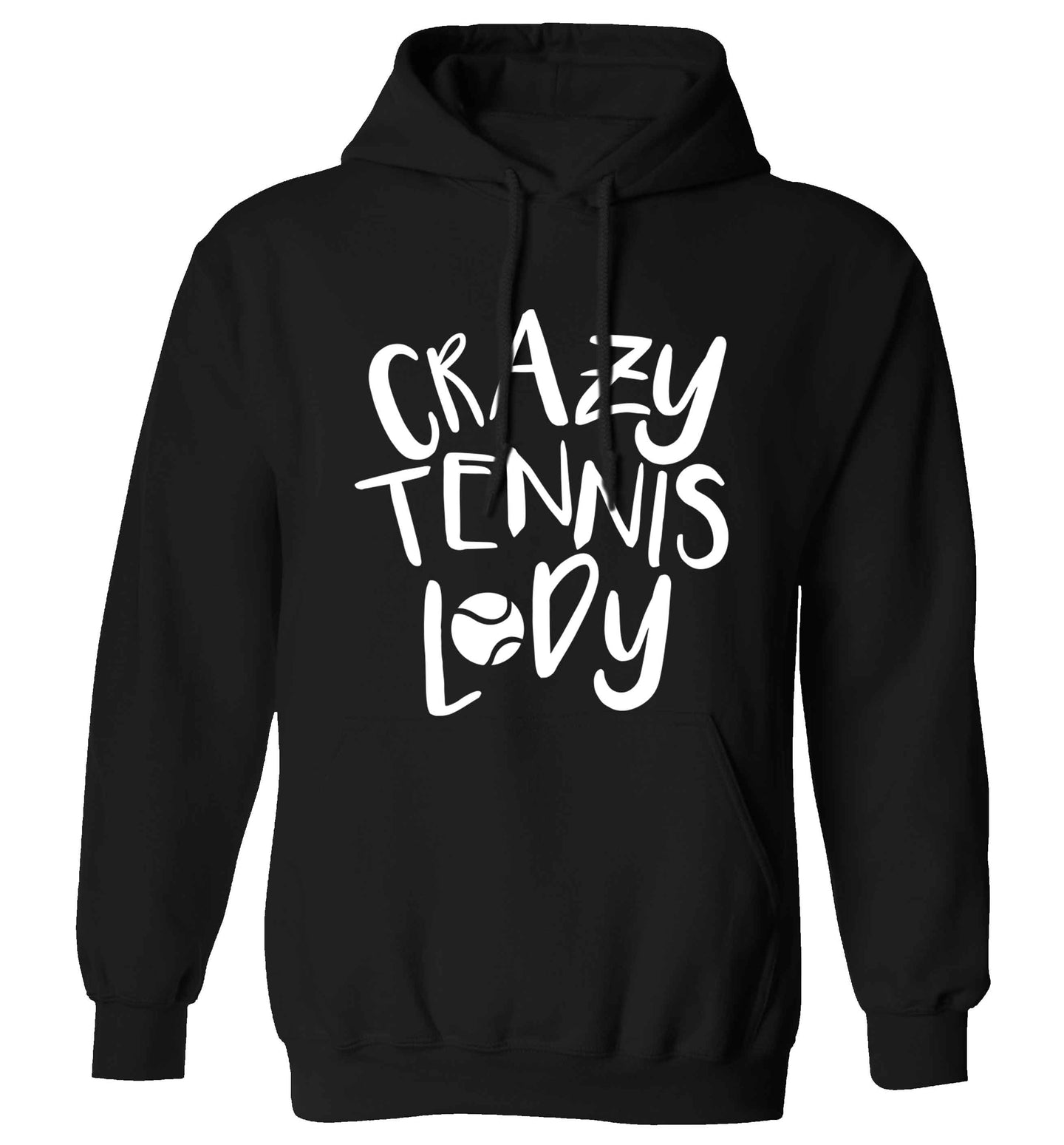 Crazy tennis lady adults unisex black hoodie 2XL