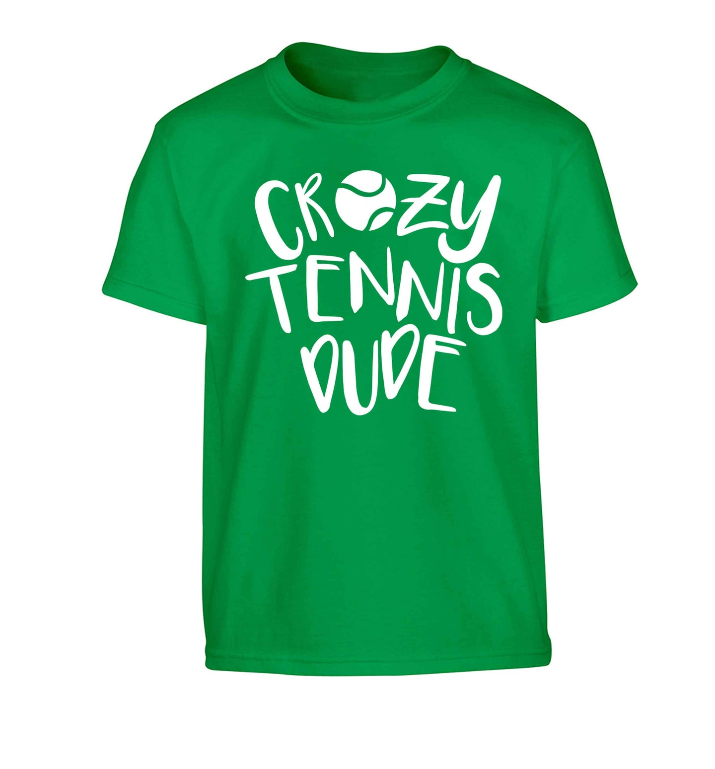 Crazy tennis dude Children's green Tshirt 12-13 Years