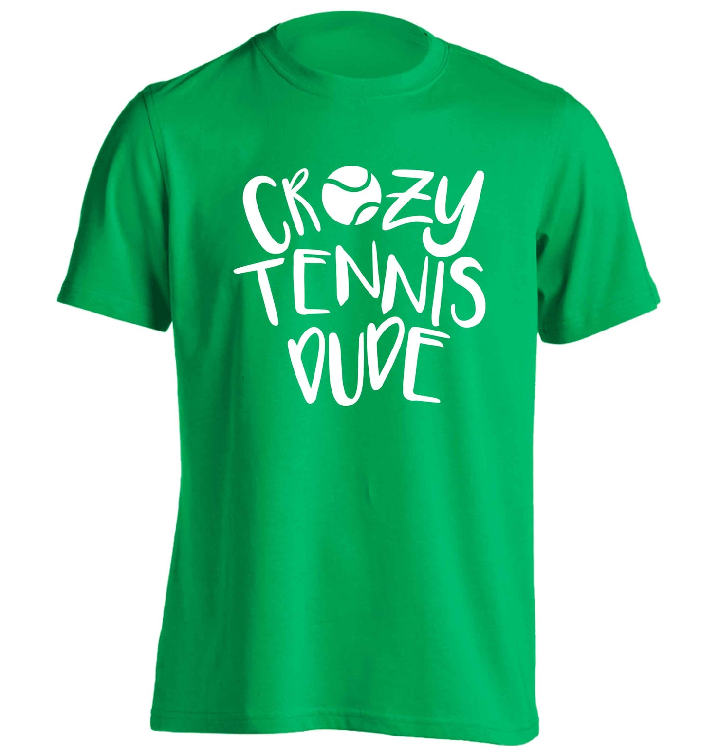 Crazy tennis dude adults unisex green Tshirt 2XL
