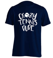 Crazy tennis dude adults unisex navy Tshirt 2XL