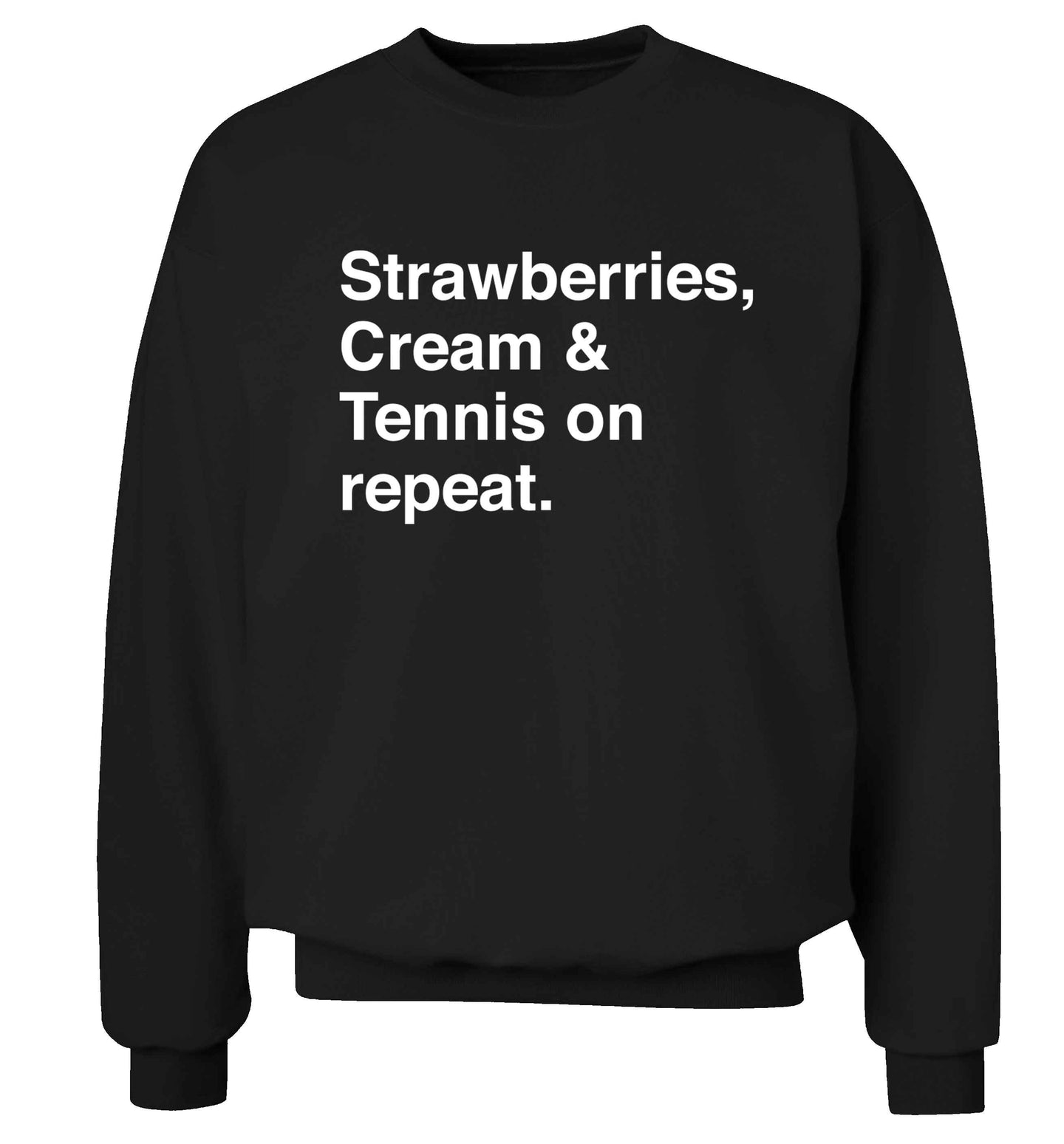 Strawberries, cream and tennis on repeat Adult's unisex black Sweater 2XL