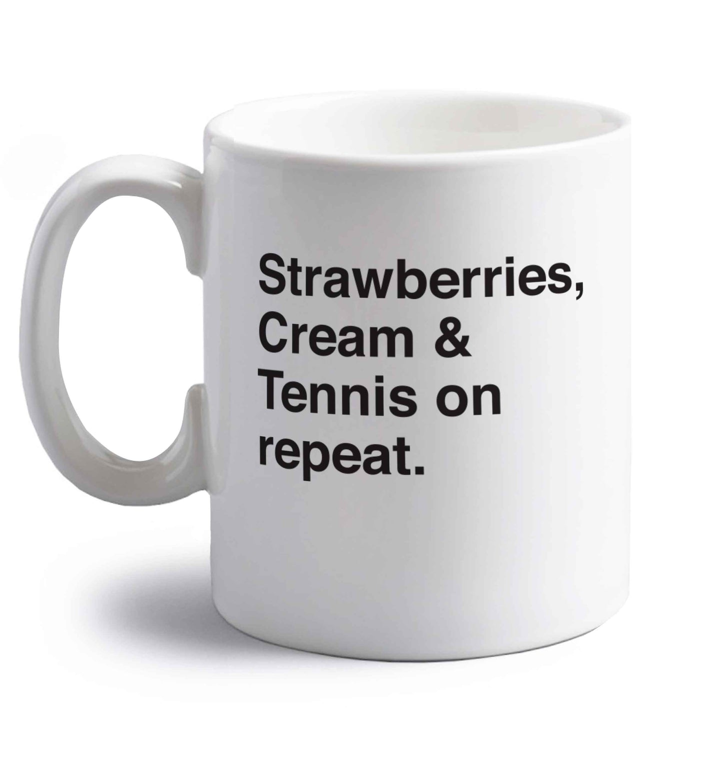 Strawberries, cream and tennis on repeat right handed white ceramic mug