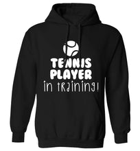 Tennis player in training adults unisex black hoodie 2XL