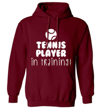 Tennis player in training adults unisex maroon hoodie 2XL